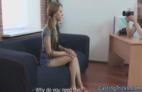 Молодую сучку крепко трахнули на порно кастинге